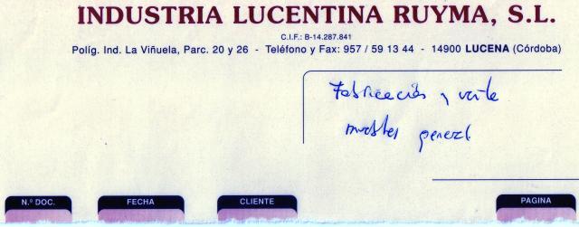 Imagen de INDUSTRIA LUCENTINA RUYMA S.L.
