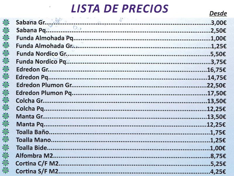 TIVOLI CLEAN   Tintorería y Lavandería   Lista de Precios 2/2